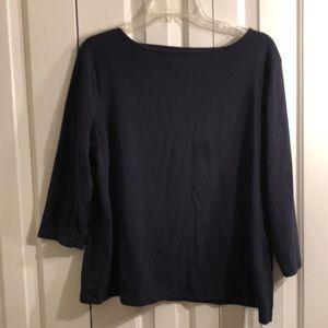 Talbots Tops - Talbots 0X navy blue three-quarter sleeve shirt